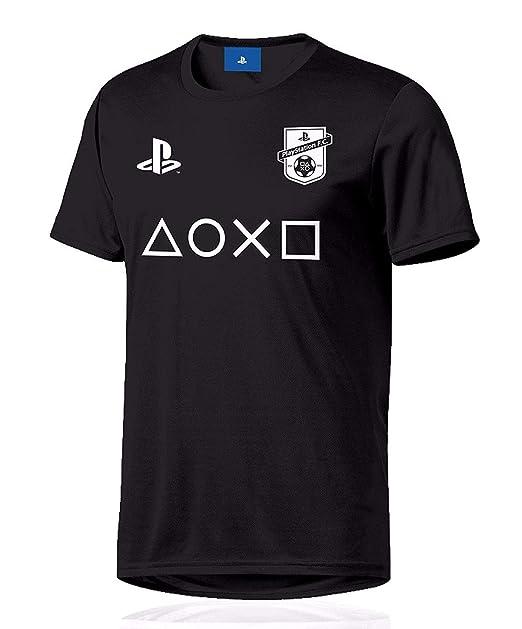 5483238849767 Sony Playstation - Símbolos Esports - Oficial Camiseta de Fútbol - Negro
