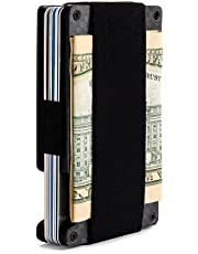 Minimalist Aluminum Wallet, Slim Money Clip Metal Wallet RFID Front Pocket Wallet (Carbon Fiber)