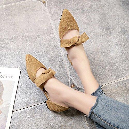 raso Bassa 36 yalanshop Tie scarpe in unico con scarpe dolce studenti Bow beige punta e w1wpqad6I