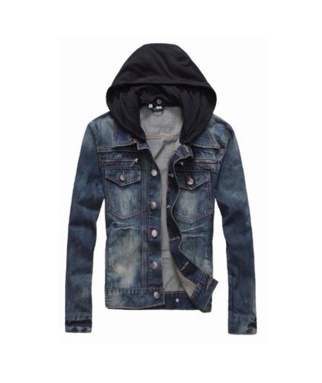 PRIME Men's Denim Jacket Slim Fit Casual Jacket DJBH-01 (DJBH-02, S)