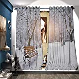 Best Better Homes & Gardens Outdoor Benches - BlountDecor Waterproof Window Curtain Snowy Leafless Trees Benches Review