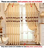 Aside Bside Symmetric Heart Embroidered Rod Pocket Top Sheer Curtains Victorian Style Permeable Window Decoration For Houseroom Kitchen and Sitting Room (1 Panel, W 52 x L 63 inch, White)