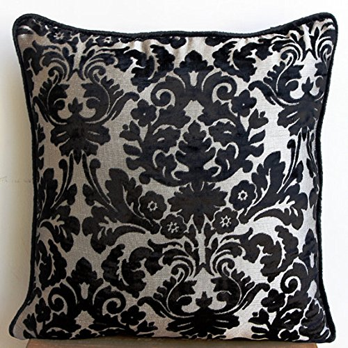 Designer Black Cushion Covers, Damask Decorative Pillows Cover, 16