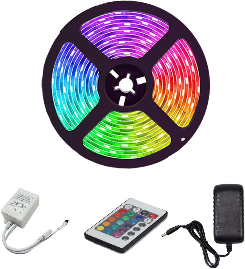 XUENUO Tira Led 5m, Tiras de luz LED Kit 5050 Cutable Epoxy A Prueba De Agua 150 Leds Control Remoto de 24 Flexibles Alimentación 3A 12V: Amazon.es: Hogar