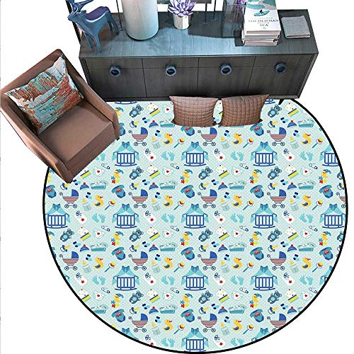 Baby Round Soft Area Rugs Newborn Sleep Crescent Moon Pacifier Nursery Star Polka Dots Image Perfect for Any Room, Floor Carpet (6'3