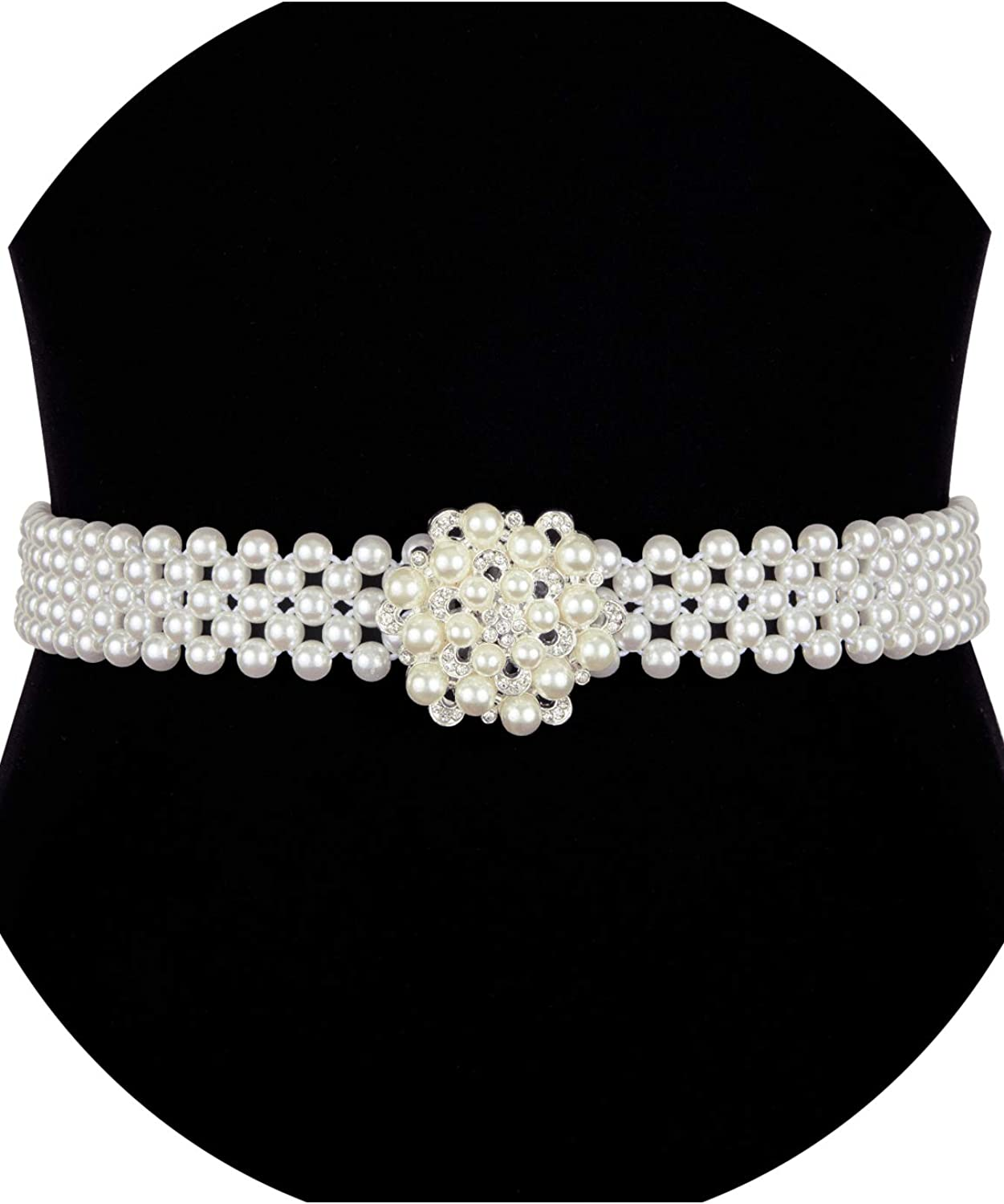 Women Waist Belt Pearl Diamond Elastic Buckle Dress Belt Fashion Wedding Party