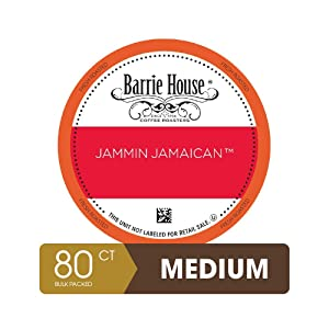 Barrie House Bulk Quantity Value Pack Single Serve Coffee Pods, 80 Count | Jammin Jamaican | Compatible With Keurig K Cup Brewers | Small Batch Artisan Coffee in Convenient Single Cup Capsules
