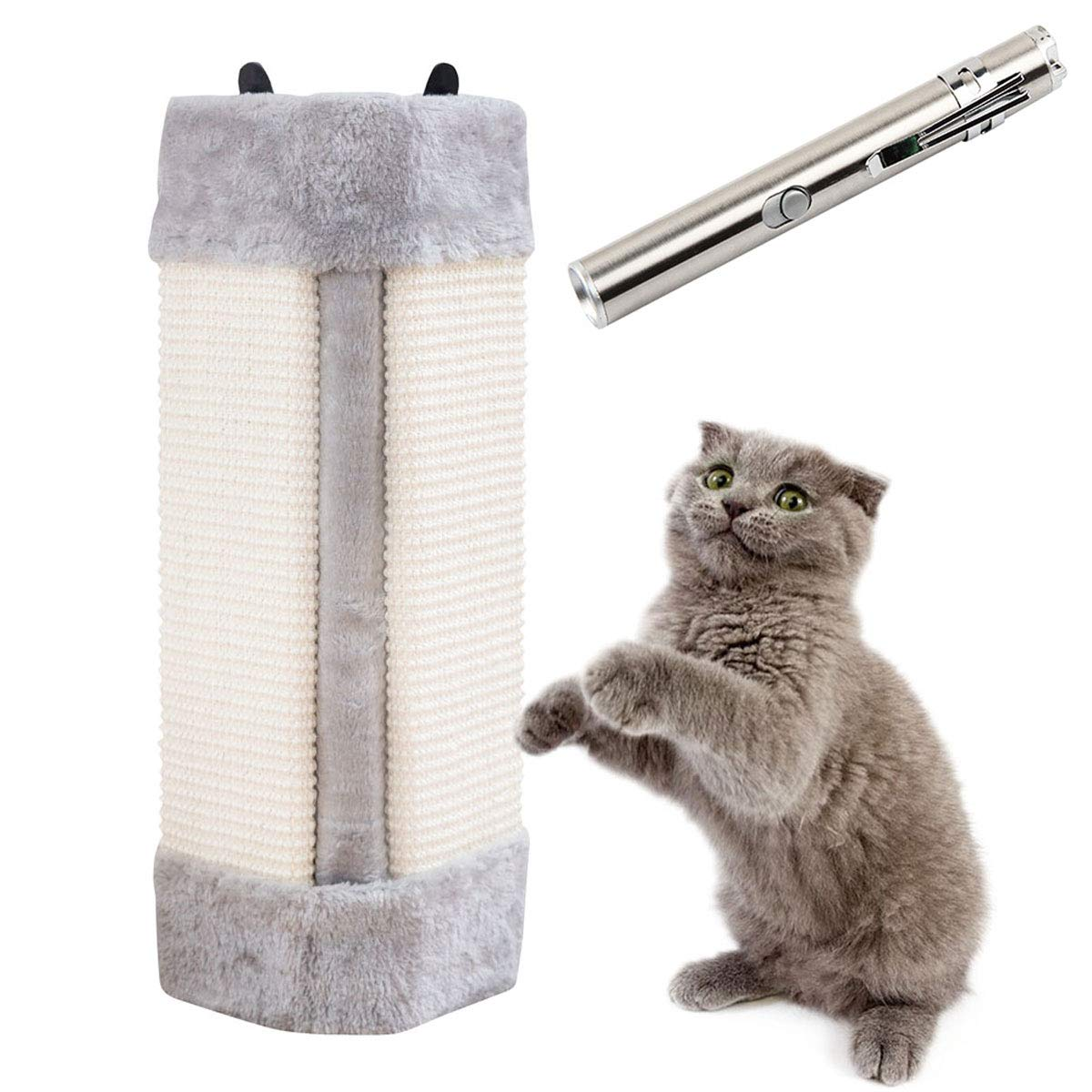 Pampurr Cat Scratcher & USB Chargeable LED Pointer, Cat Scratching Board Pad Hanging Scratcher Cat Wall Mounted Scratching Post/Wall Corner Foldable Pet Sisal Scratcher/Furniture Protector by Pampurr
