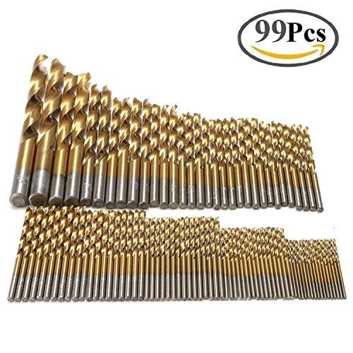 Hss Twist Drill (GOSTAR 99 Pcs HSS Twist Drill Bits set 1.5mm - 10mm High Speed Steel Spiral Hand Carbide Drills with Titanium Coated)