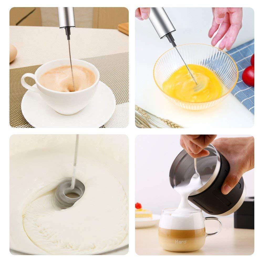 Espumador de leche el/éctrico con dos cabezales con cepillo de limpieza incluido Batidora de leche para espuma de leche port/átil by ARTUROLUDWIG