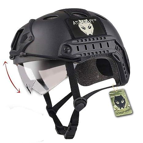 Casco militar para juegos tipo airsoft o paintball, diseño de estilo SWAT, color negro, cuenta con protección para los ojos