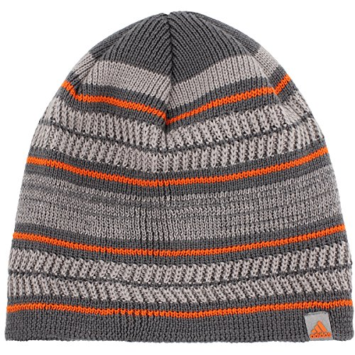 adidas Men's Optimal Beanie, Onix/Grey/Light Onix/Orange, One (Orange Logo Beanie)