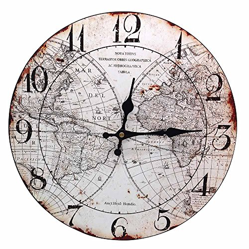 World Map Vintage Non-Ticking Silent Wood Wall Clock 14 inch