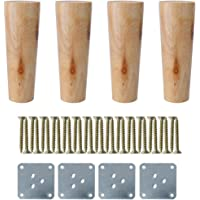 "uxcell® 6"" Round Solid Wood Furniture Legs Sofa Chair Bed Desk Closet Cabinet Feet Replacement Set of 4"