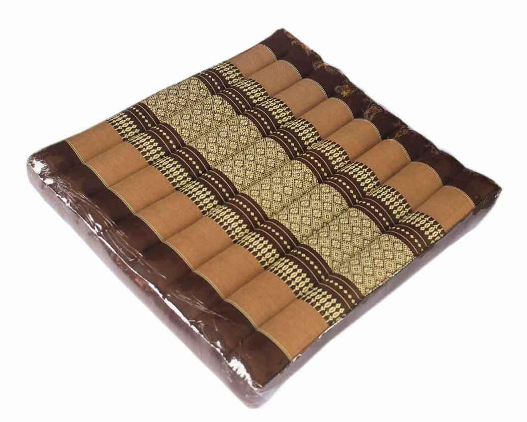 Pogsib Floor Cushions Thai Cushion Meditation Zabuton Thai Style Soft Stuffed Filled Kapok Size 20''x20''x3'' (Brown)