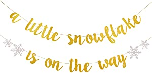 A Little Snowflake Is On The Way Banner Gold Glitter- Christmas Baby Shower Decorations, Winter Baby Shower Decorations, Baby It's Cold Outside Decor, Christmas Baby Shower