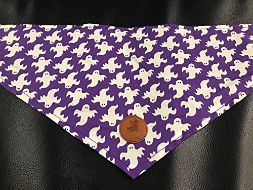 Hand Made in the USA Cat, Pet, or Dog Bandana in Purple and White Halloween Ghosts - Homemade Ghost Costumes
