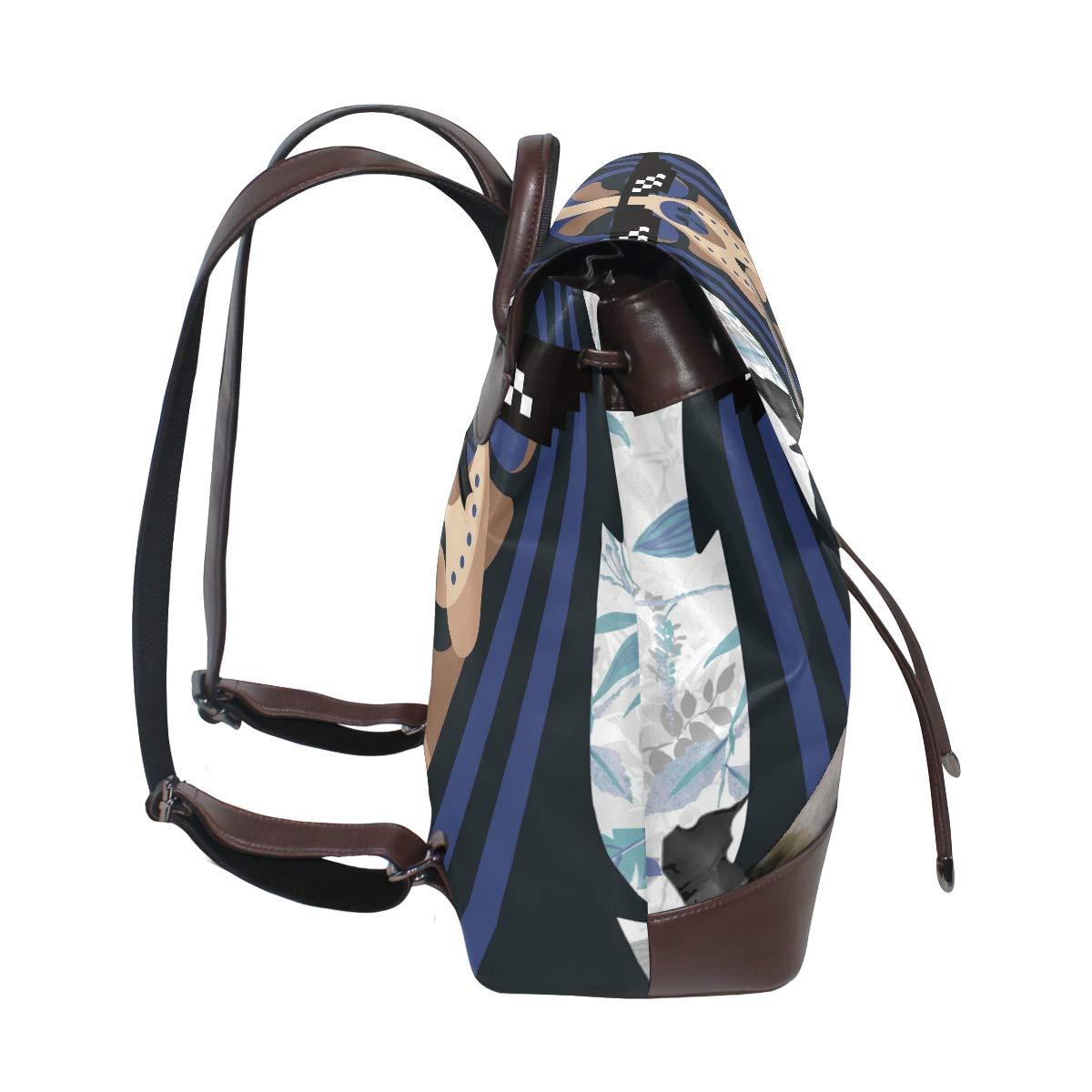 PU Leather Shoulder Bag,Blue Hair Dog Backpack,Portable Travel School Rucksack,Satchel with Top Handle