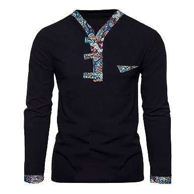 Zhhlinyuan Mens Jungen Junior Breathable Spring Autumn Summer Linen Soft  Slim Long Sleeve V neck T