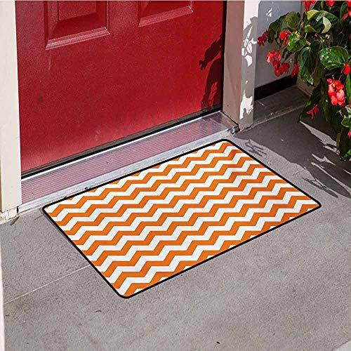 Jinguizi Chevron Welcome Door mat Halloween Pumpkin Color Chevron Traditional Holidays Autumn Season Celebrate Door mat is odorless and Durable W29.5 x L39.4 Inch Orange White -