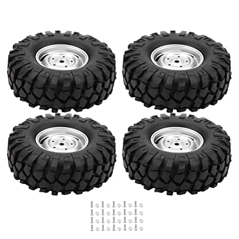 Dilwe 4 Pcs RC Neumáticos de Coche Ruedas de Goma con Cubos para 1/10