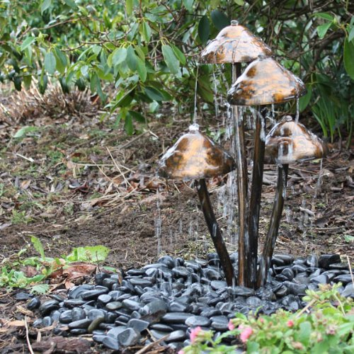 Mushroom Garden Water Feature With Warm White LEDu0027s