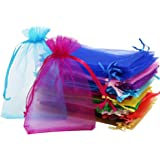 SumDirect 110Pcs 4x6 inches Mixed Color Sheer Drawstring Organza Jewelry Pouches Wedding Party Christmas Favor Gift Bags