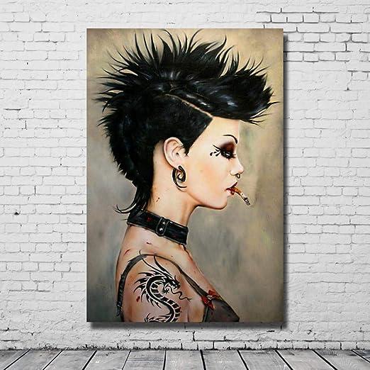 LQQQSHH Pintura Al Óleo 100% Pintada A Mano Chica con Tatuaje ...