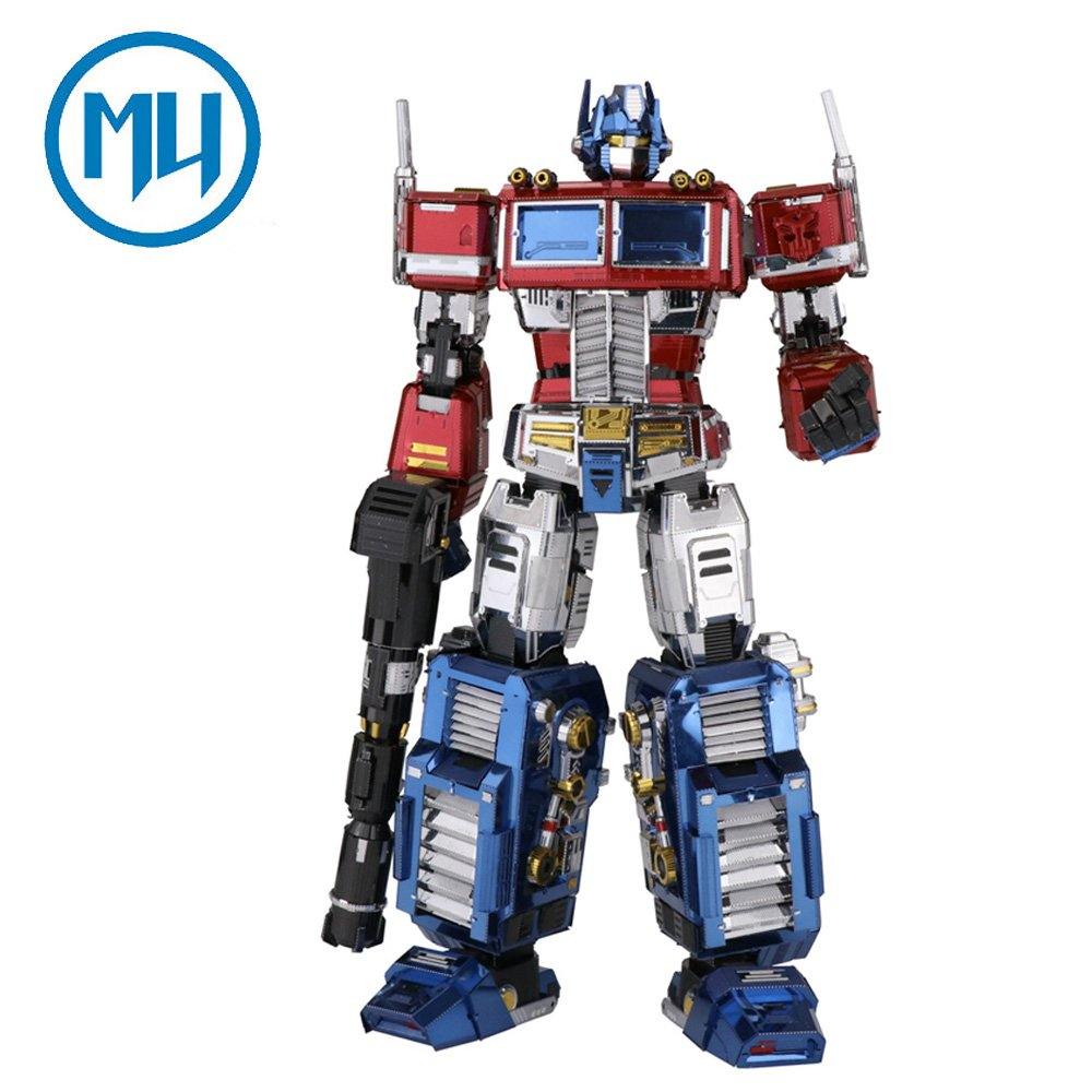 2017 MU 3D Metal Puzzle Transformers Optimus Prime G1 Model YM-L03G-C DIY 3D Laser Cut Assemble Jigsaw Toys For Audit Maplemu