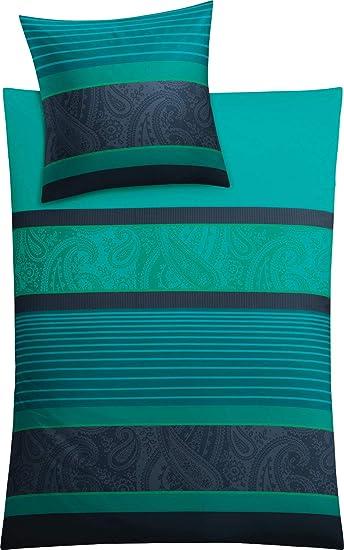 Kleine Wolke Cambridge Bettwäsche Bettbezug Baumwolle Petrol 135