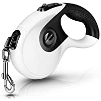 CLEEBOURG Retractable Dog Leash, Heavy Duty Pet Walking Leash with Anti-Slip Handle, 16ft Strong Nylon Tape, One-Handed Brake, Pause, Lock