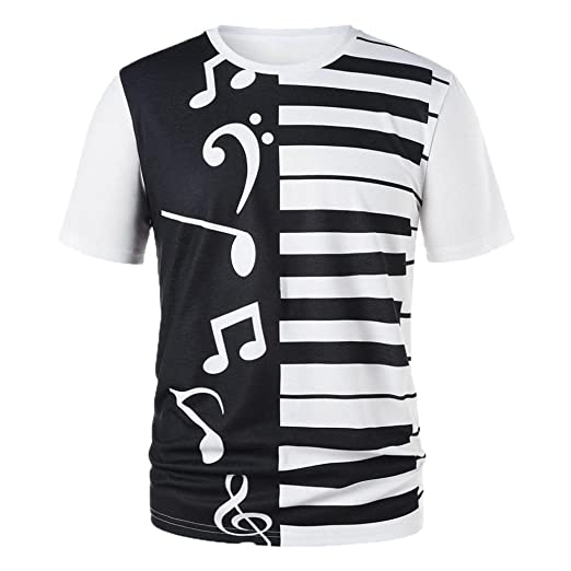 Women Men T-Shirt Couple Piano Keys Musical Notes Print Tops