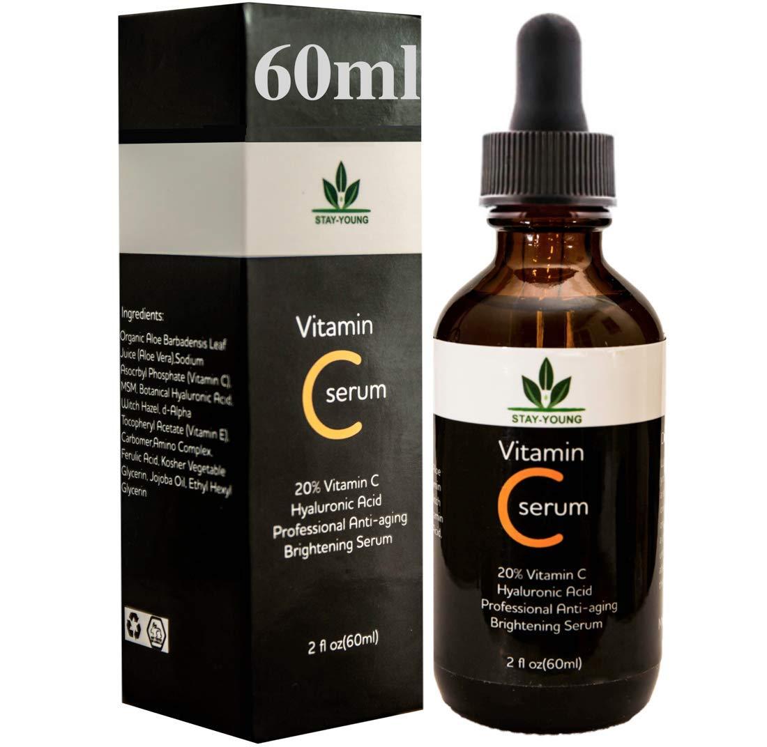 Vitamin C Serum für das Gesicht - Riesig 60ml Flasche - Beste Natürliche Formel mit Klinische Stärke von reines Vitamin C, Hyaluronsäure, Vitamin E & Bio-Jojobaöl - Für Alle Hauttypen Hyaluronsäure STAY-YOUNG