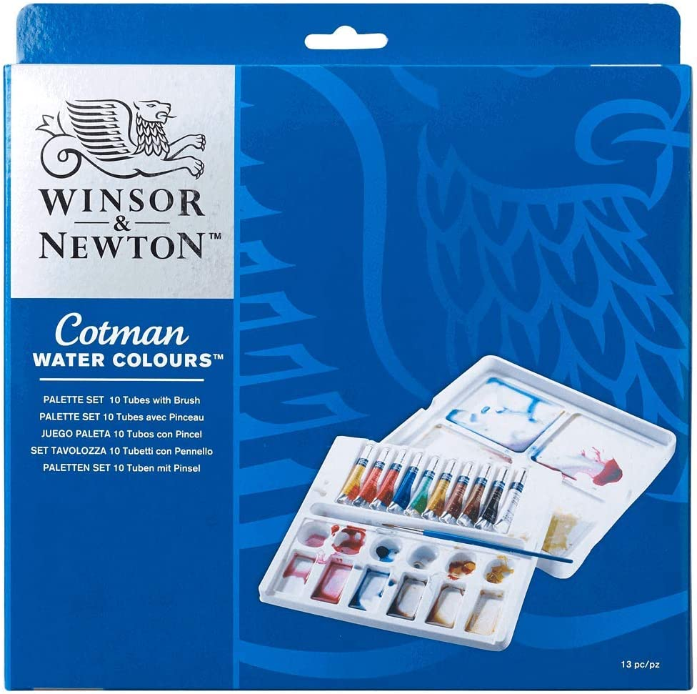 Winsor & Newton Cotman - Set de acuarela, caja paleta con 10 tubos ...