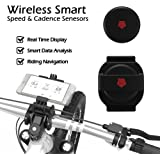 "Bike Cadence Sensor & Speed Sensor - Wireless Pedal Cadence Sensor and Speed Sensor with Smartphone Bracket Top 6"" Smartphone Supported - Waterproof Smart Bike Sensors for Pedal Cadence Speed Training"