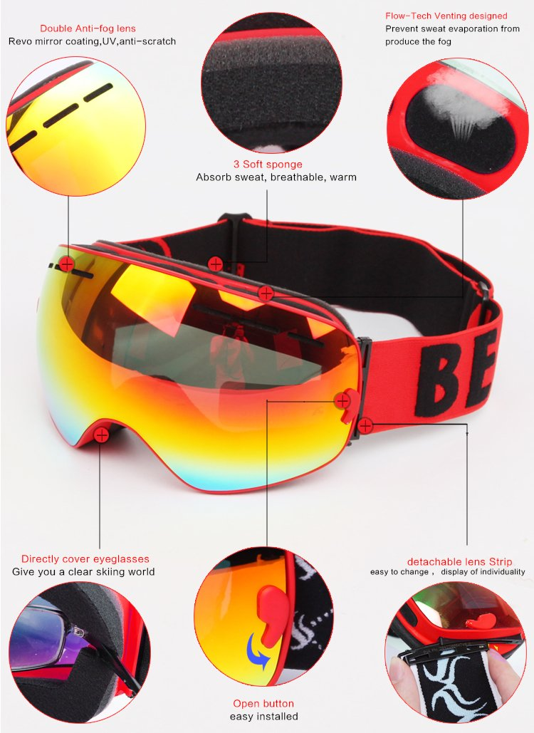 f5cd1b8590 Benice Masque de ski antibuée professionnel avec verres sphériques XL  amovibles double épaisseur pour motoneige, snowboard, skate, ski Compatible  avec ...