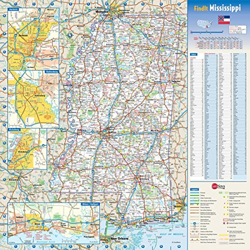 Gifts Delight Laminated 24x24 Poster: Road Map - Large Detailed Roads and Highways map of Mississippi State with National Parks and All Cities