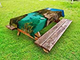 Ambesonne Nature Outdoor Tablecloth, Small Yacht Floating in Sea Majorca Spain Rocky Hills Forest Trees Scenic View, Decorative Washable Picnic Table Cloth, 58 X 104 Inches, Green Aqua Blue