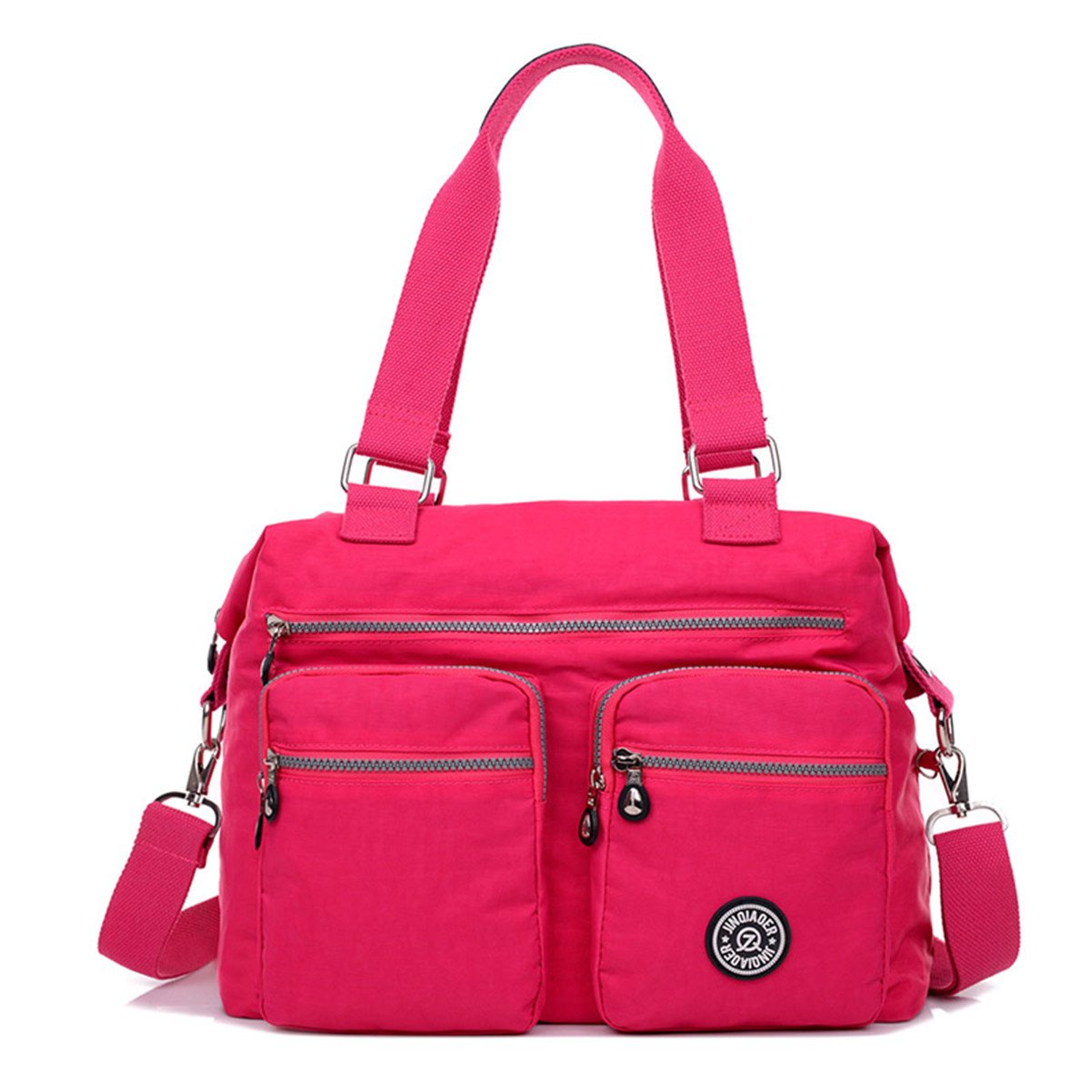 pink Tiny Chou Lightweight Water Resistant Nylon Totes Crossbody Bag Shoulder Bag with Pockets Large