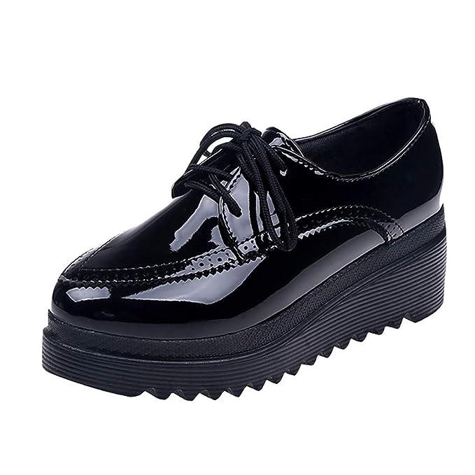 Amazon.com: Zapatos gruesos de mujer con puntera redonda y ...