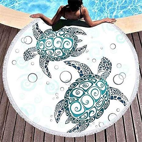 Tortuga Tomando el Sol Alrededor de la Toalla de Playa, Manta de ...