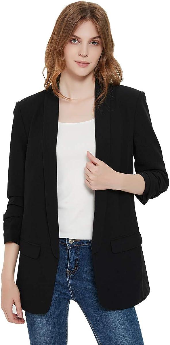 Charis Allure Womens 3/4 Ruched Sleeve Blazer Jacket Lightweight Work Office Open Front Soild Coat, Black