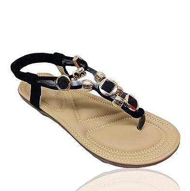 92c8afcff69 Women s Summer Rhinestone Bead Bohemia Folk Round Dunlop Clip Toe Sandals  Boho Beach Flip Flops Flat