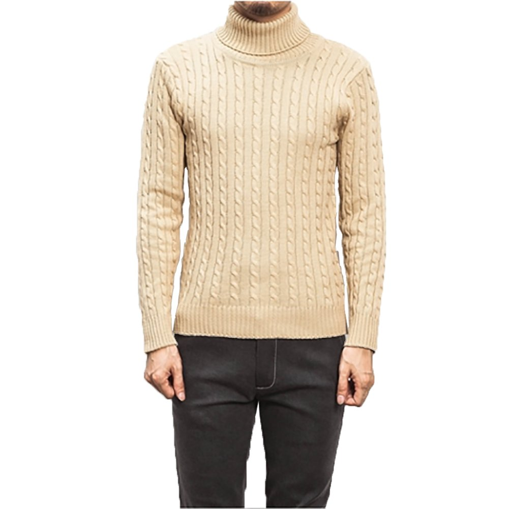 SITENG Men's Fall Winter Fashion Solid High Turtle Neck Collar Pullover Sweater For Men (US M, Khaki)