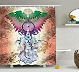 Ambesonne Home Decor Collection, Dreamcatcher Native American Tribal Style Decor Poster Feathers Wildlife Ethnic Spiritual Decor, Polyester Fabric Bathroom Shower Curtain Set with Hooks, Tile Red