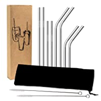 FDA Approved Stainless Steel Straw Set | 8 Reusable Drinking Straws | 2 Cleaning Brushes and Bonus Pouch | Rounded Safety Edges | No Plastic Packaging | Fits 20 oz and 30 oz Tumblers