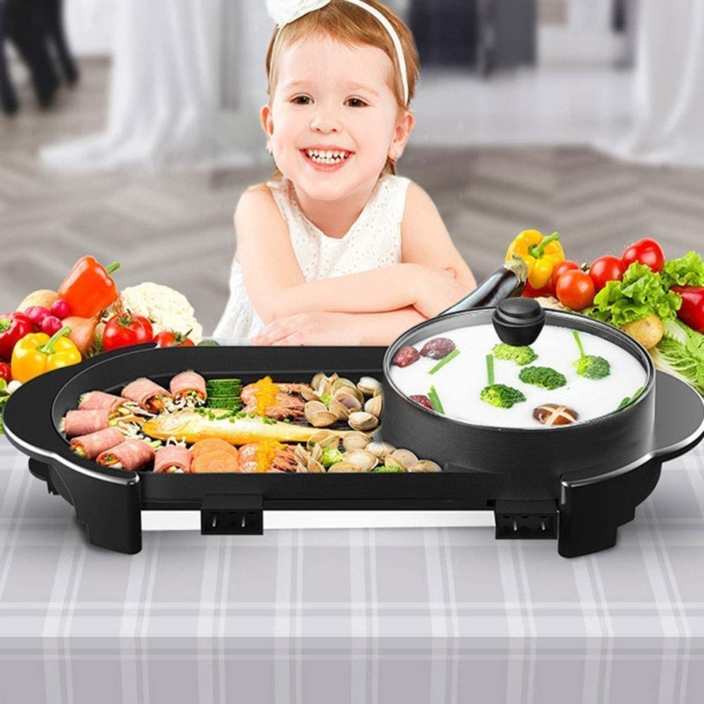 Excellent Électrique Table Top Grill Barbecue Réchaud Ménage Barbecue Pot antiadhésifs sans fumée Teppanyaki Grill Pan (Couleur: Noir) (Color : Black) Black