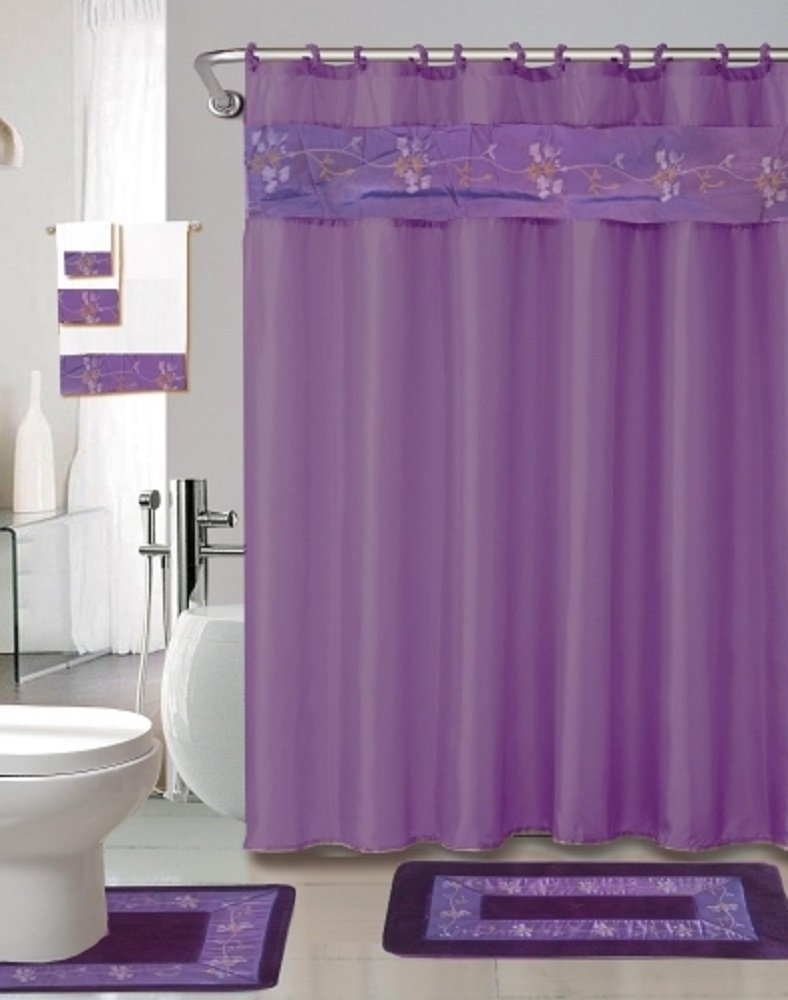 Amazoncom Piece Bath Accessory Set Purple Flower Bath Rug Set - Plum bath mat for bathroom decorating ideas