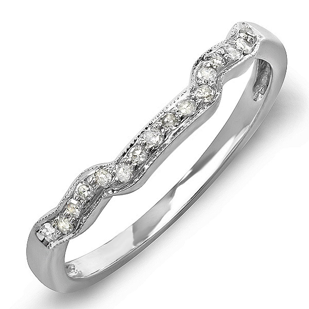 Dazzlingrock Collection 0.15 Carat (ctw) 14k Round Diamond Ladies Anniversary Wedding Ring Band Enhancer Guard, White Gold, Size 7.5