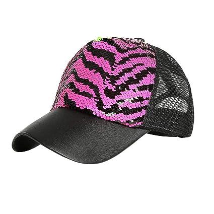 Gorra de béisbol ajustable, lentejuelas bicolor de la sirena de la cebra para los hombres y ...